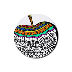 Abstract Apple Art Colorful Rubber Coaster (round)