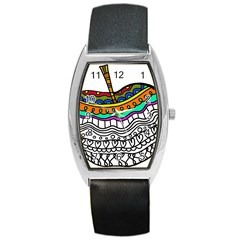 Abstract Apple Art Colorful Barrel Style Metal Watch