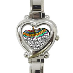 Abstract Apple Art Colorful Heart Italian Charm Watch
