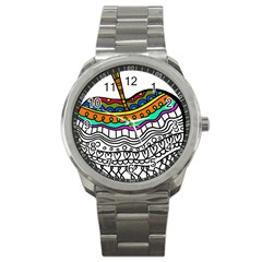 Abstract Apple Art Colorful Sport Metal Watch