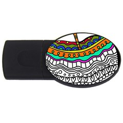 Abstract Apple Art Colorful Usb Flash Drive Oval (4 Gb)