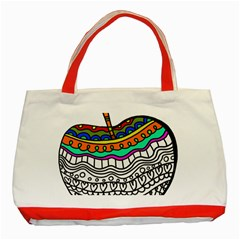 Abstract Apple Art Colorful Classic Tote Bag (red)