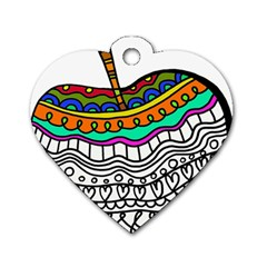 Abstract Apple Art Colorful Dog Tag Heart (two Sides)
