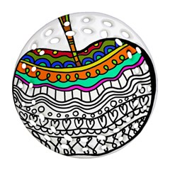 Abstract Apple Art Colorful Round Filigree Ornament (two Sides)