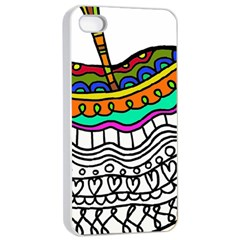 Abstract Apple Art Colorful Apple Iphone 4/4s Seamless Case (white)