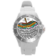 Abstract Apple Art Colorful Round Plastic Sport Watch (l)
