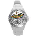 Abstract Apple Art Colorful Round Plastic Sport Watch (L) Front