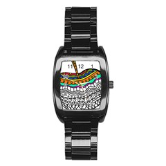 Abstract Apple Art Colorful Stainless Steel Barrel Watch