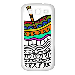 Abstract Apple Art Colorful Samsung Galaxy S3 Back Case (white)