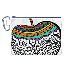 Abstract Apple Art Colorful Canvas Cosmetic Bag (l)