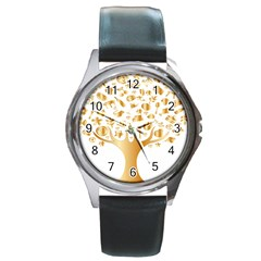 Abstract Book Floral Food Icons Round Metal Watch