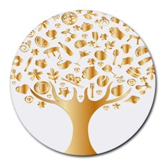 Abstract Book Floral Food Icons Round Mousepads