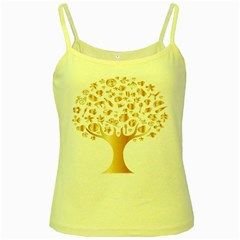Abstract Book Floral Food Icons Yellow Spaghetti Tank