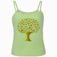 Abstract Book Floral Food Icons Green Spaghetti Tank