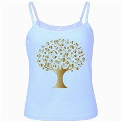 Abstract Book Floral Food Icons Baby Blue Spaghetti Tank