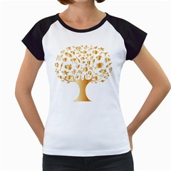 Abstract Book Floral Food Icons Women s Cap Sleeve T