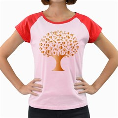 Abstract Book Floral Food Icons Women s Cap Sleeve T Shirt