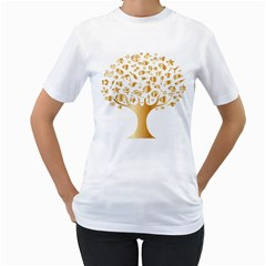 Abstract Book Floral Food Icons Women s T Shirt (white) (two Sided)