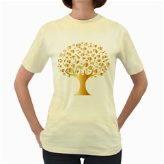 Abstract Book Floral Food Icons Women s Yellow T Shirt