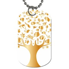 Abstract Book Floral Food Icons Dog Tag (two Sides)
