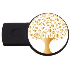 Abstract Book Floral Food Icons Usb Flash Drive Round (2 Gb)