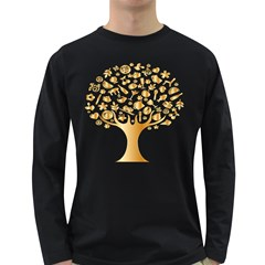 Abstract Book Floral Food Icons Long Sleeve Dark T Shirts