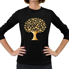 Abstract Book Floral Food Icons Women s Long Sleeve Dark T Shirts