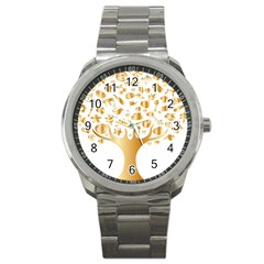 Abstract Book Floral Food Icons Sport Metal Watch