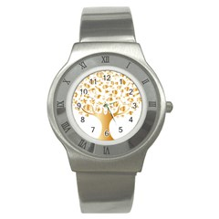 Abstract Book Floral Food Icons Stainless Steel Watch