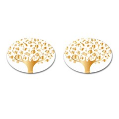 Abstract Book Floral Food Icons Cufflinks (oval)