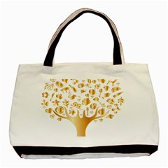 Abstract Book Floral Food Icons Basic Tote Bag (two Sides)