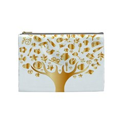 Abstract Book Floral Food Icons Cosmetic Bag (medium)