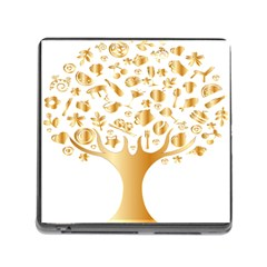 Abstract Book Floral Food Icons Memory Card Reader (square)