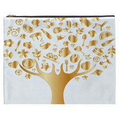 Abstract Book Floral Food Icons Cosmetic Bag (xxxl)