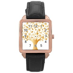 Abstract Book Floral Food Icons Rose Gold Leather Watch