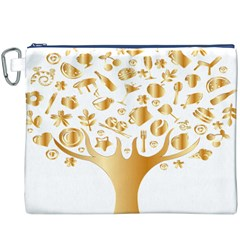 Abstract Book Floral Food Icons Canvas Cosmetic Bag (xxxl)