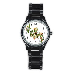 Apple Branch Deciduous Fruit Stainless Steel Round Watch