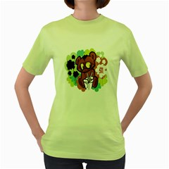 Bear Cute Baby Cartoon Chinese Women s Green T Shirt
