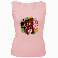 Bear Cute Baby Cartoon Chinese Women s Pink Tank Top