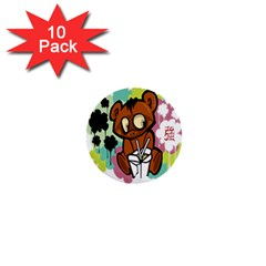 Bear Cute Baby Cartoon Chinese 1  Mini Buttons (10 Pack)