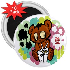 Bear Cute Baby Cartoon Chinese 3  Magnets (10 Pack)
