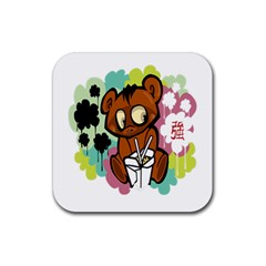 Bear Cute Baby Cartoon Chinese Rubber Coaster (square)