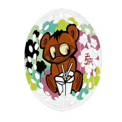 Bear Cute Baby Cartoon Chinese Oval Filigree Ornament (two Sides)