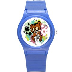 Bear Cute Baby Cartoon Chinese Round Plastic Sport Watch (s)