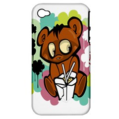 Bear Cute Baby Cartoon Chinese Apple Iphone 4/4s Hardshell Case (pc+silicone)