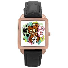 Bear Cute Baby Cartoon Chinese Rose Gold Leather Watch