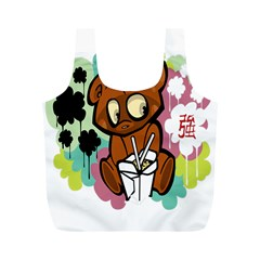 Bear Cute Baby Cartoon Chinese Full Print Recycle Bags (m)