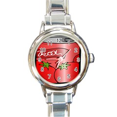 Beverage Can Drink Juice Tomato Round Italian Charm Watch