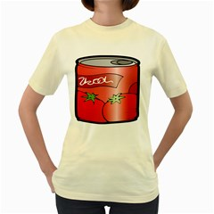 Beverage Can Drink Juice Tomato Women s Yellow T Shirt