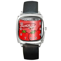 Beverage Can Drink Juice Tomato Square Metal Watch